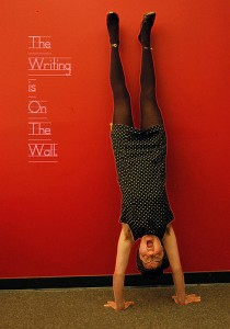 yoga handstand on a wall