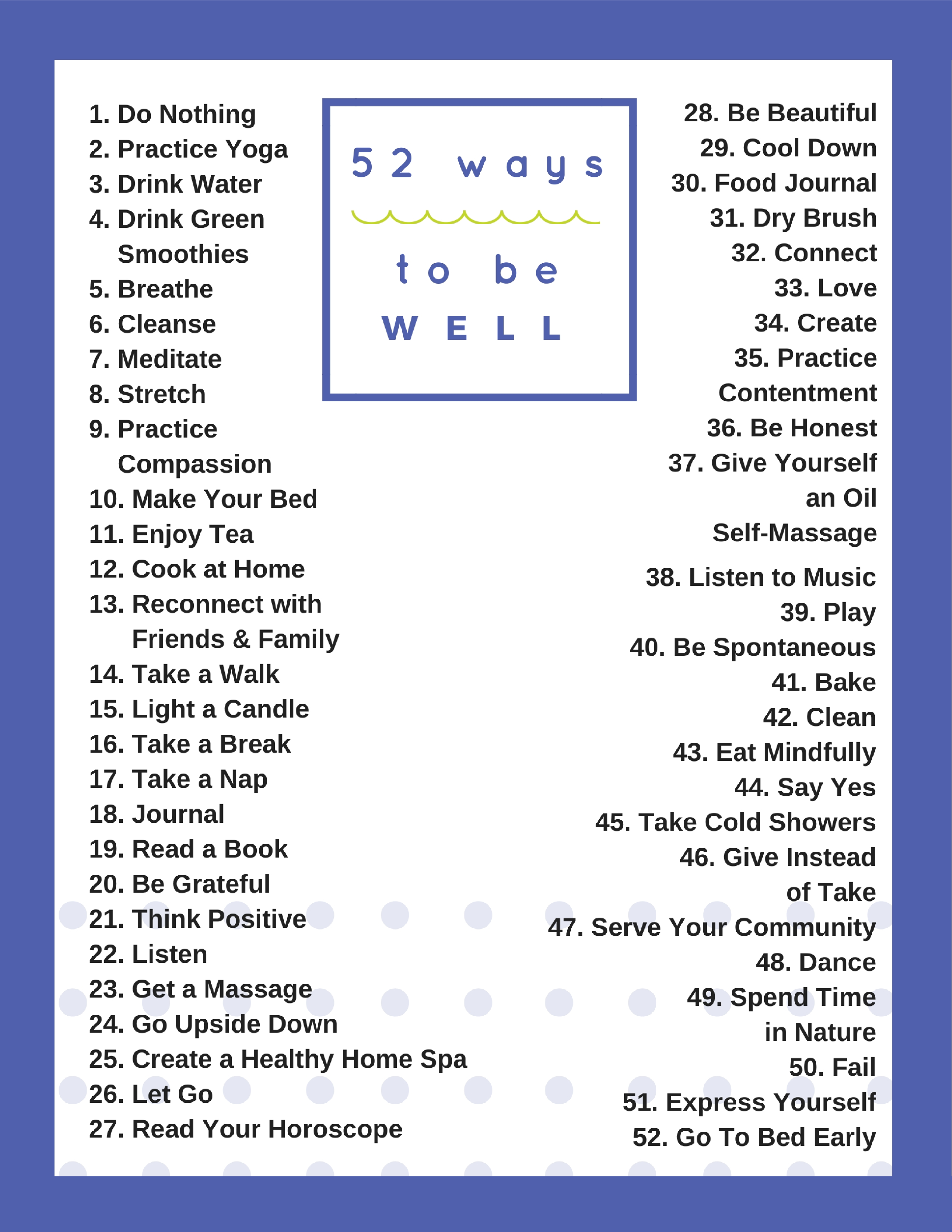 52 ways to be well